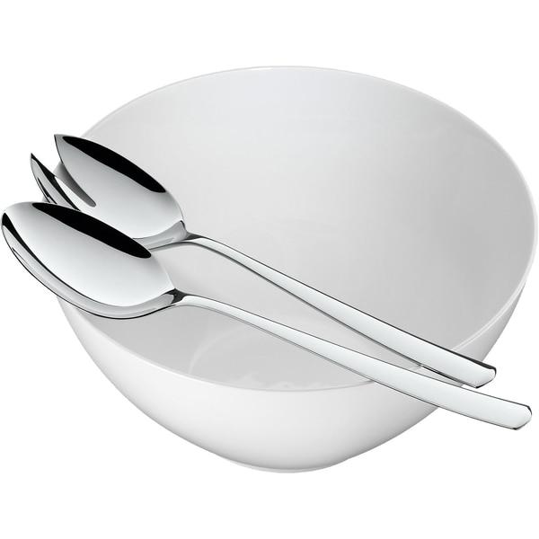 Wmf 3-tlg. Porzellan Salatschüssel Set Bistro mit Salatbesteck