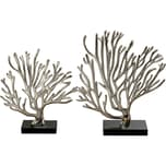 2-Tlg. Set Aluminium Dekoobjekte Korallen H29-35 cm