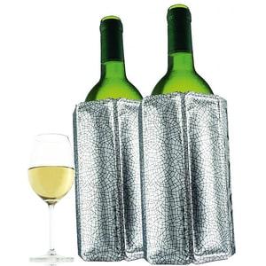 2er-Set Kühlmanschetten Weinkühler Silber