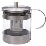 my basics Edelstahl Glas Teekanne mit Siebeinsatz 1,2 L