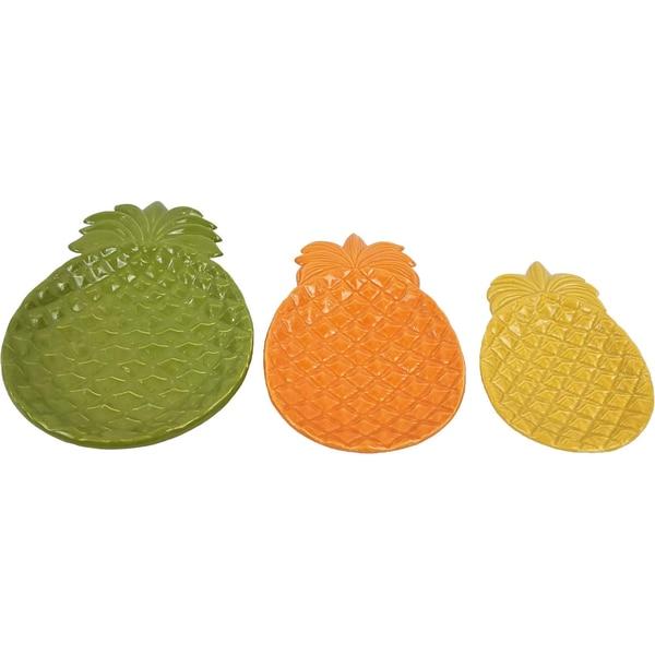 3-tlg. Set Keramikteller Poppy Pineapples 18,5x28 cm 15x23 cm 12x19,5 cm