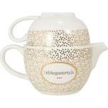 MEA LIVING Teekanne und Tasse mit Golddruck Lieblingsmensch