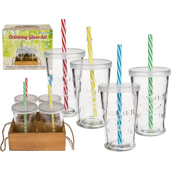 4er-Set Trinkglas Summer Deckel Trinkhalm In Holz-Aufsteller Je275 ml