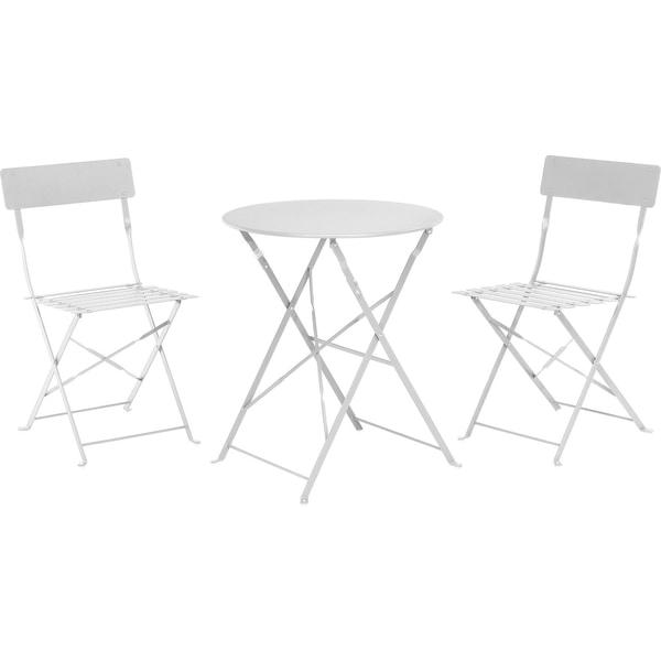 3tlg 1xBistro-Tisch D60xH71 cm klappbar u. 2xStühle 41x45x81 cm klappbar