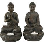 Boltze 2er-Set Teelichthalter Buddha 11 x 11 x 19 cm
