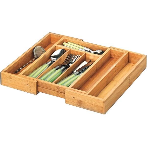 Zeller Present Ausziehbarer Bambus Besteckkasten 5-7-Fächer