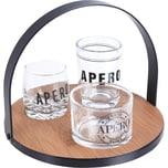 4-tlg. Servier Set mit 1 x Tablett Ø18 cm und 3 x Gläser