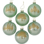 BOLTZE 6-tlg. Weihnachtskugel Set Skove Glas Ø8 cm