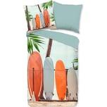 good morning BEDLINENS Baumwoll-Wendebettwäsche Surf 135x200 80x80cm