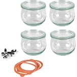 WECK 4er-Set Einweckgläser Tulpenglas-Form 0,5l mit Deckel Gummis Klammern