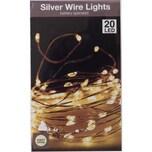 Koopman Silberdraht warmweiß 40 LEDs inkl. Timer batteriebetrieben