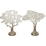 2-tlg. Set Aluminium Dekoobjekte Bäume H32 cm