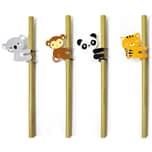 Kikkerland 4-tlg. Set Bambus-Trinkhalme Tiere mit Reinigungsbürste