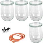 WECK 4er-Set Einweckgläser Tulpenglas-Form 1l mit Deckel Gummis Klammern