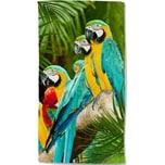 good morning BEDLINENS Velours-Strandtuch Parrots 100x180cm