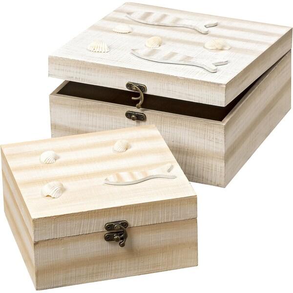 Boltze 2-Tlg. Set Boxen Muscheln Und Fische L16-20 cm