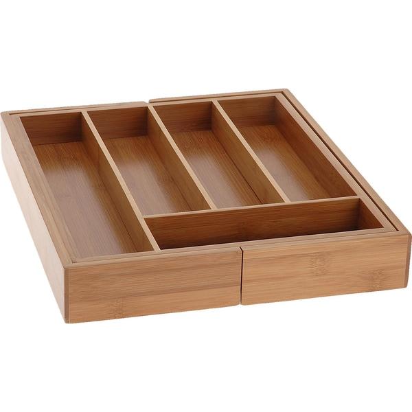 Bambus Besteckkasten ausziehbar 34x28cm – 40cm