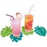 4-tlg. Set Glas-Untersetzer Tropical