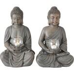 """BOLTZE 2er-Set Windlicht """"Buddha"""" 26 x 25 x 41 cm"""