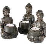"""BOLTZE 6er-Set Teelichthalter """"Buddha"""" 9 x 9 x 14 cm"""