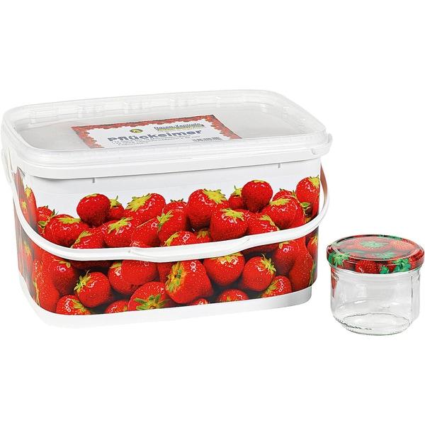 13-tlg. Einweckgläser Set Erdbeer mit Schraubverschluss Eimer 262ml