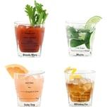 Kikkerland 4er-Set Cocktail Tumbler mit je 4 Rezepten