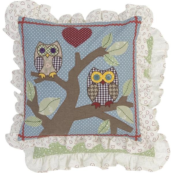 "Clayre & Eef Kissenhülle ""Owl Love"" 40x40 cm"