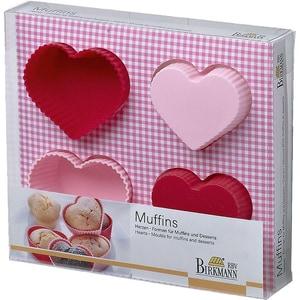 Birkmann 4-Tlg. Silikon Backformen Set Herzen Für Muffins Dessert In Geschenkverpackung Ø7 cm