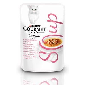 GOURMET Crystal Soup Köstliche Brühe mit Thunfisch und Sardellen Ergänzungsfutter 40g