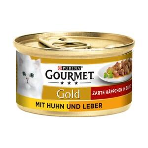 Gourmet Gold Zarte Häppchen Huhn & Leber Katzenfutter 12x85g