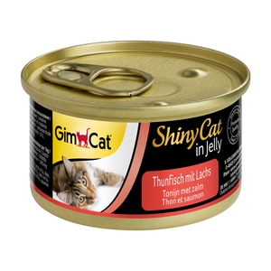 GimCat ShinyCat in Jelly Thunfisch mit Lachs Katzenfutter 24x70g