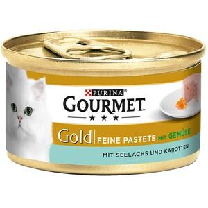Gourmet Gold Feine Pastete Seelachs & Karotten Katzenfutter 12x85g